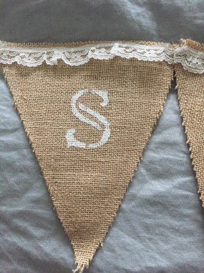 Burlap & Canvas Set Of Day Pennants: Bridal Suite + Groom's Lair Banner Lace Other
