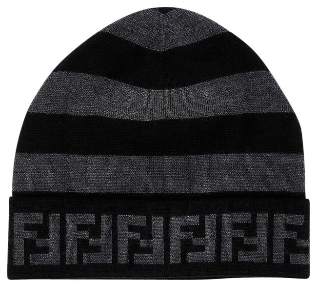 Item - Black/Grey Striped and Branded Wool Beanie Hat