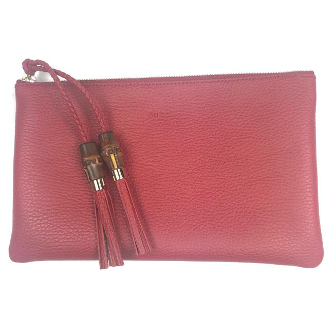 Item - #449652 Bamboo Tassel Zip Top Clutch/Pouch Red Leather Clutch