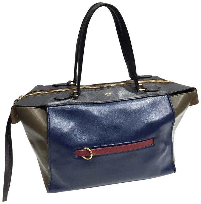 Item - Ring Tri-color Large Navy Blue Leather Tote
