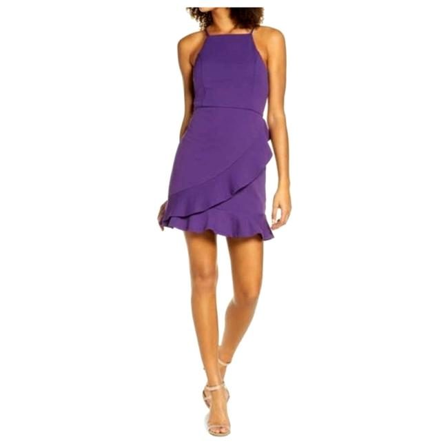 Item - Purple Great Things Black Ruffled Bodycon Cocktail Dress Size 4 (S)