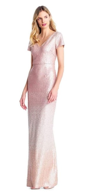 Item - Pink Cream Ombre Sequin Column Gown In Blush Long Formal Dress Size 12 (L)