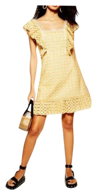 Item - Yellow White Eyelet Broderie Sundress Us Short Casual Dress Size 12 (L)
