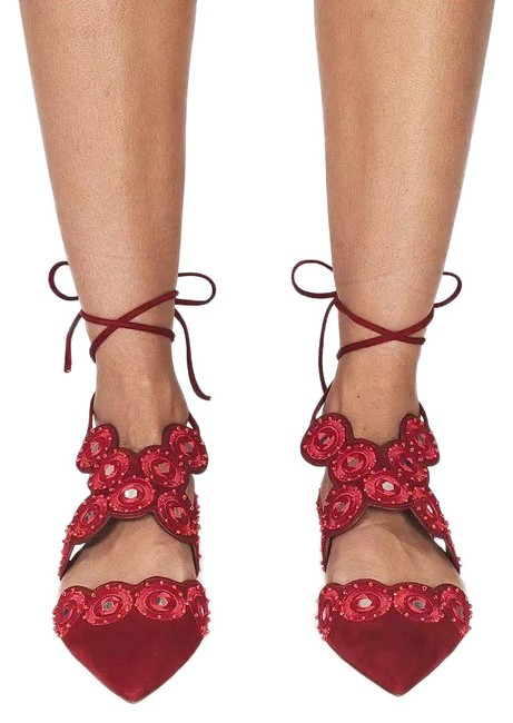 Item - Red Yasmin D'orsay Pointy Embroidery Beads (Se36) Flats Size US 6.5 Regular (M, B)