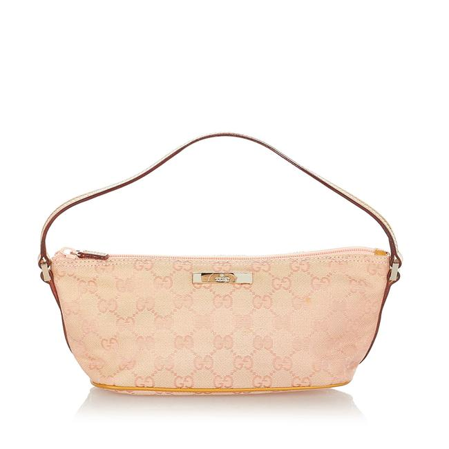 Item - Gg Canvas Boat Pink Leather Baguette