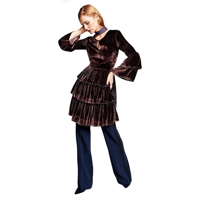 Item - Brown Palermo X Olivia Tiered Velvet Shirtdress Mid-length Night Out Dress Size 6 (S)