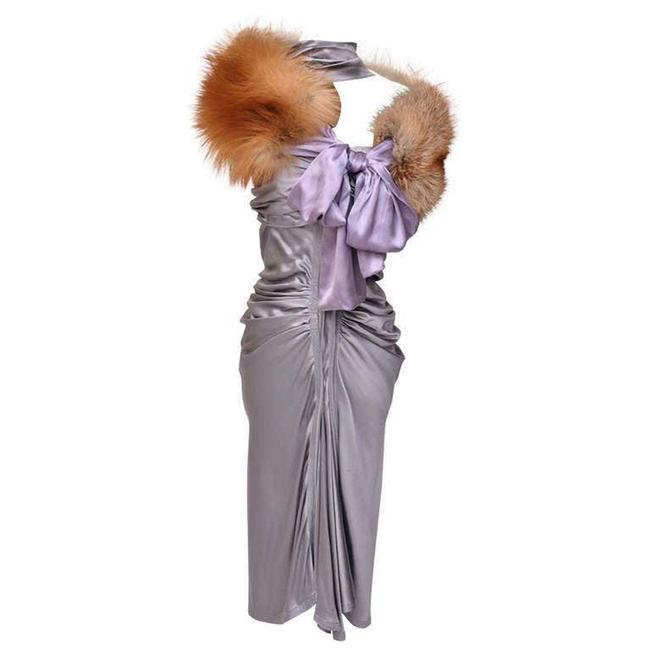 Item - Purple Tom Ford For Yves Silk Red Fox Fur Stole Mid-length Night Out Dress Size 6 (S)