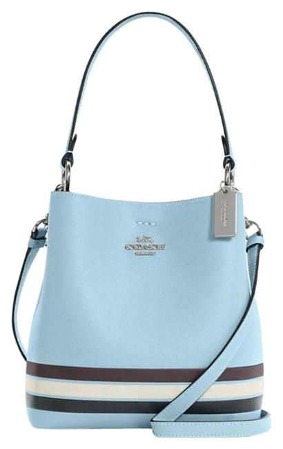 Item - Bucket Small Town In Colorblock with Stripe Waterfall Midnight Multi Leather Cross Body Bag