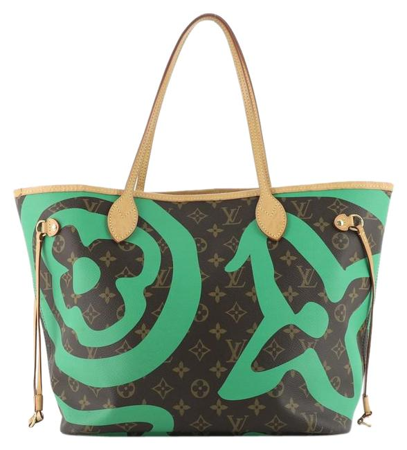 Item - Neverfull Nm Limited Edition Tahitienne Cities Monogram Mm Brown Green Coated Canvas Tote
