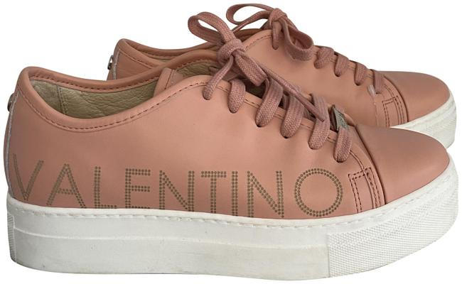 Item - Peach Leather Lace Up Monogram Logo Sneakers Size US 7.5 Regular (M, B)