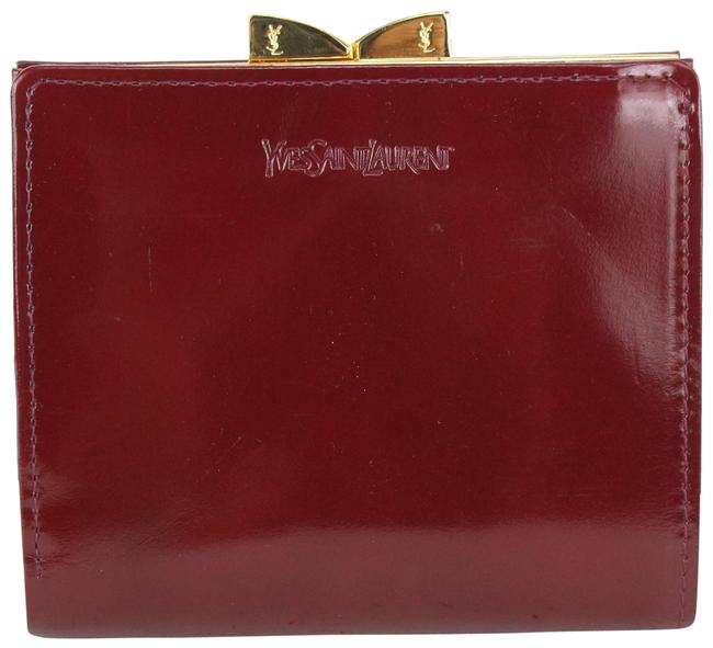 Item - Burgundy Patent Leather Kisslock Coin Pouch 2ysl823 Wallet