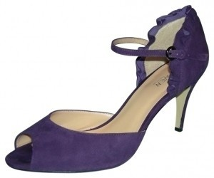 Preview International Suede Open Toe Pump Ruffle Purple Formal