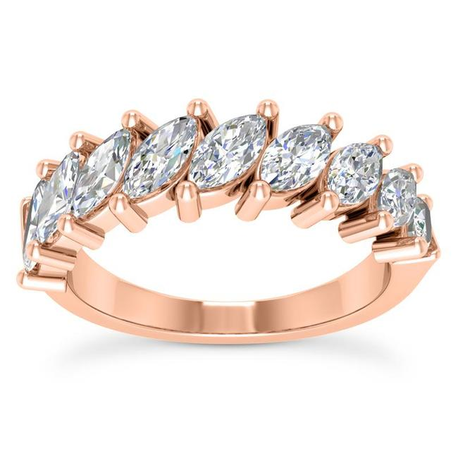 Item - 18k Rose Gold 1.50ct Ladies Marquise Cut Band In Ring