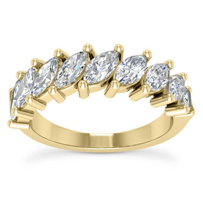 Item - 18k Yellow Gold 1.50ct Ladies Marquise Cut Band In Ring