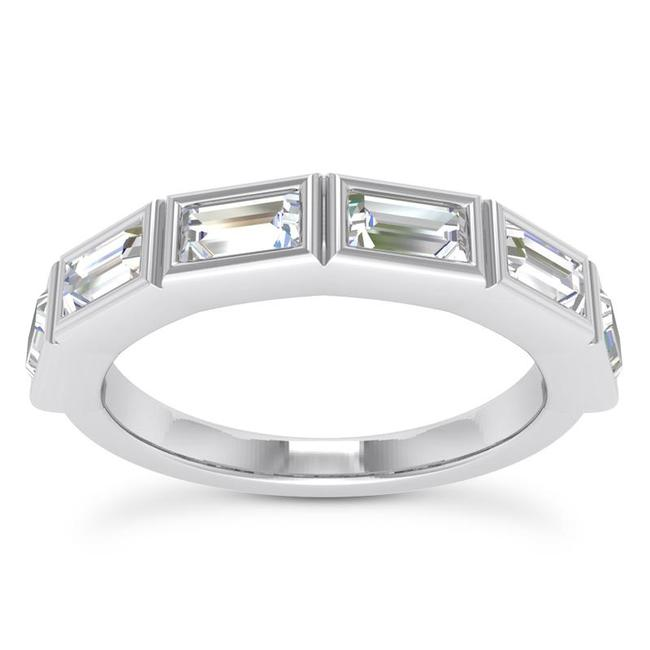 Item - 18k White Gold 0.75ct Ladies Baguette Shaped Band In Channel Setting Ring
