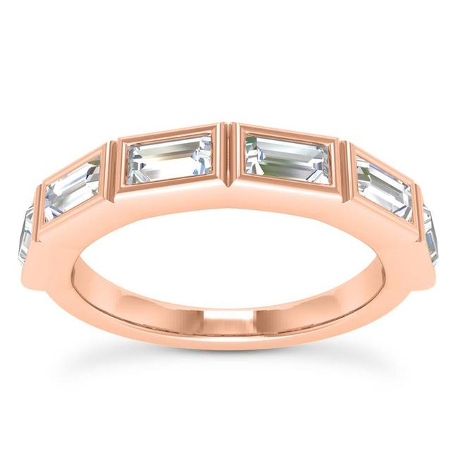 Item - 18k Rose Gold 0.75ct Ladies Baguette Shaped Band In Channel Setting Ring