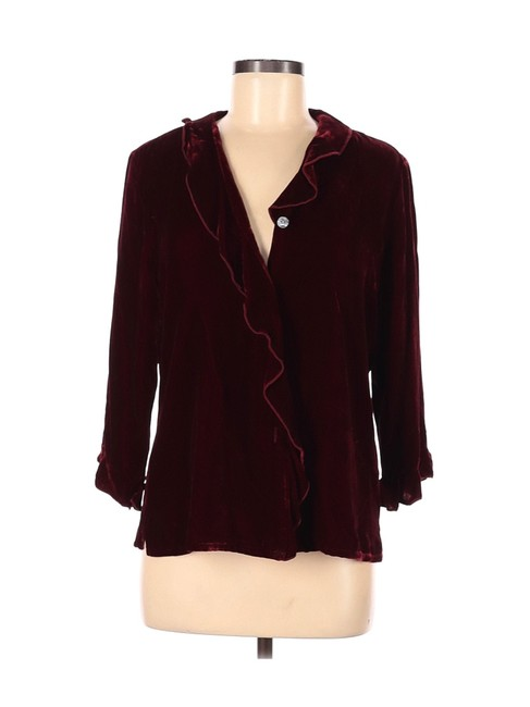 Item - Deep Velvet Ruffled Silk W/ Mother Of Pearl Buttons Red Top