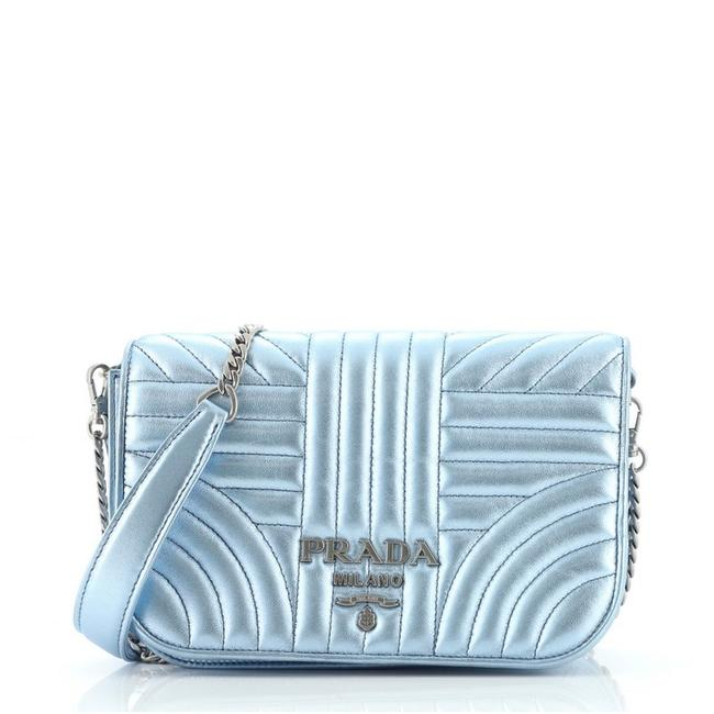 Item - Chain Flap Diagramme Quilted Small Blue Patent Leather Cross Body Bag
