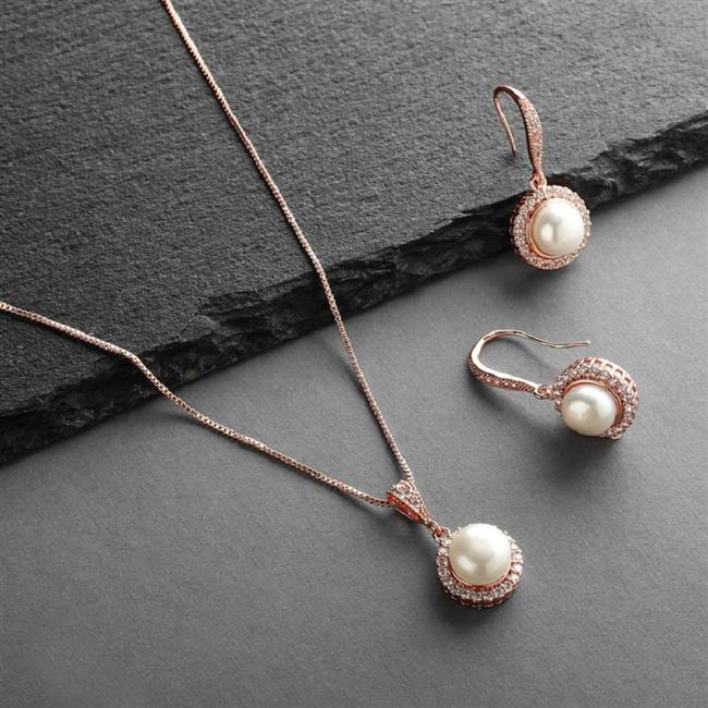 Item - Rose Gold Timeless Pearls Jewelry Set
