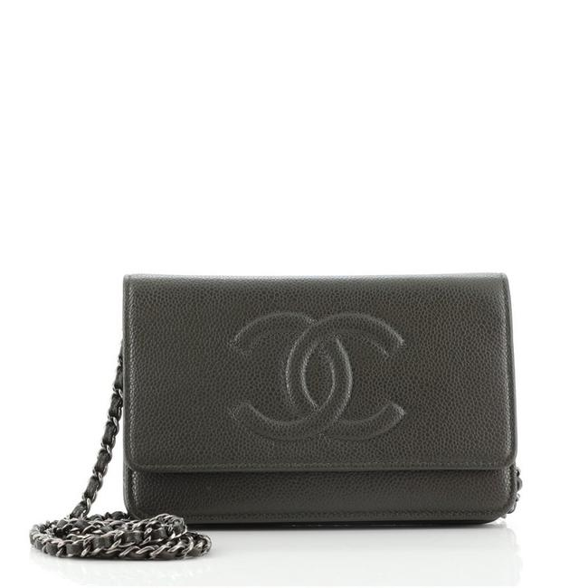 Item - Timeless Wallet on Chain Caviar Green Leather Cross Body Bag