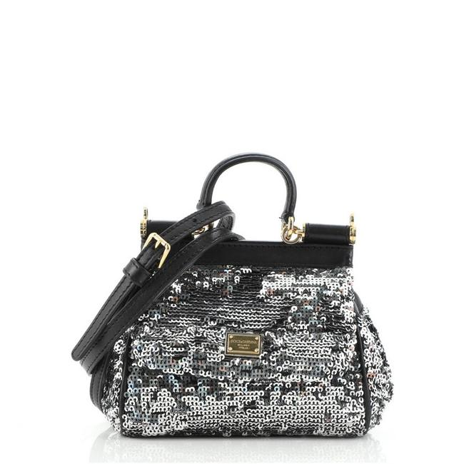 Item - Miss Sicily Small Black Silver Sequins Cross Body Bag