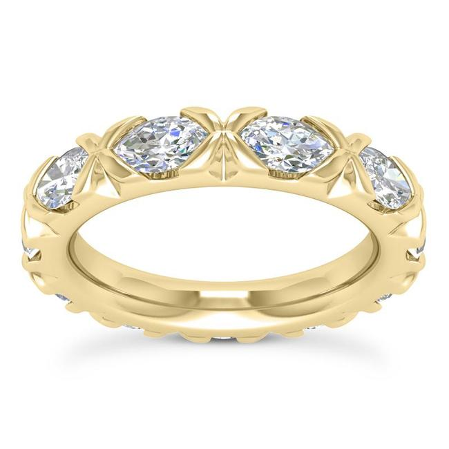 Item - 18k Yellow Gold 2.50ct Ladies Marquise Cut Eternity Band In All Sizes Ring