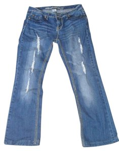 Blue Asphalt Distressed White Stitch Boot Cut Jeans-Medium Wash