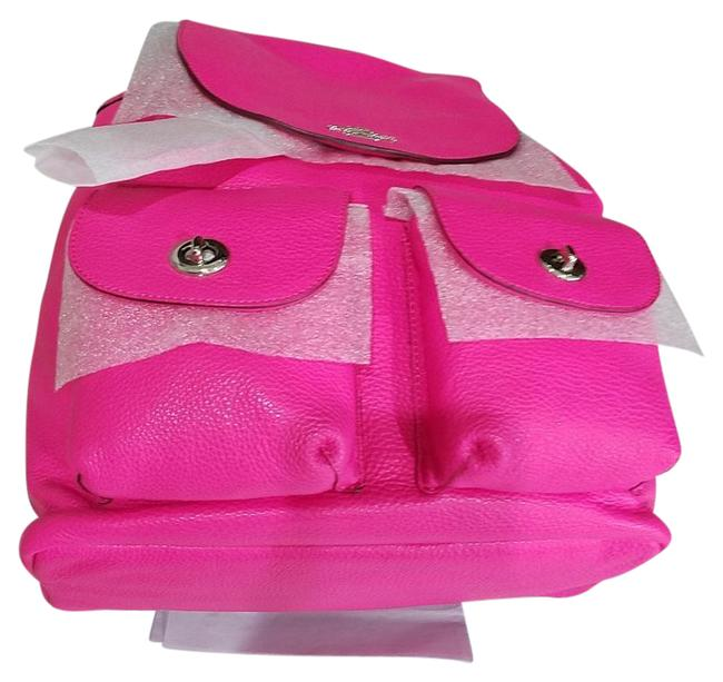 Item - School Travel Silver/ Pink Fuchsia Leather Backpack