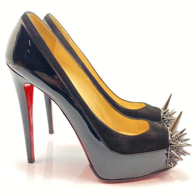 Item - Black Asteroid 140 Suede Patent Spikes Strass Heel Pumps Size EU 39.5 (Approx. US 9.5) Regular (M, B)