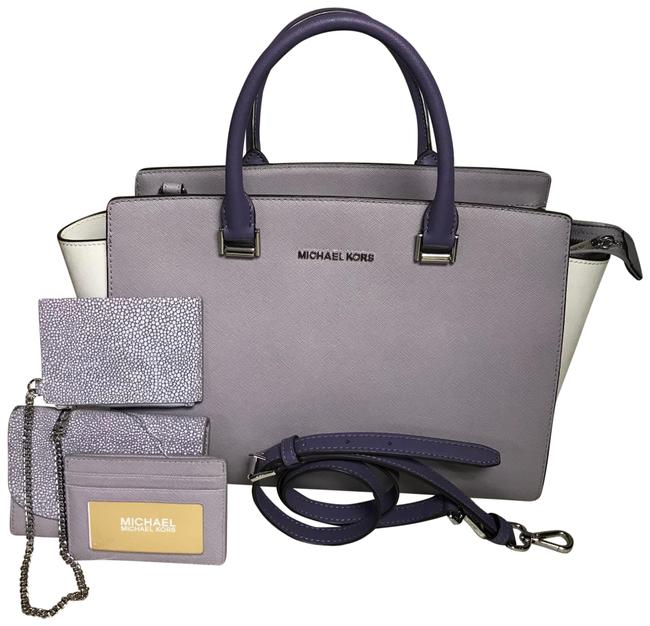 Item - Large Selma Matching Wallet Lilac and Silver Hardware Leather Satchel