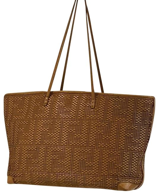 Item - Monogram Woven Brown Leather Tote