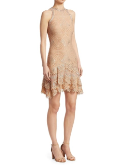 Item - Nude / Metallic Silver Tiered Lace Ruffle Sleeveless Short Cocktail Dress Size 8 (M)