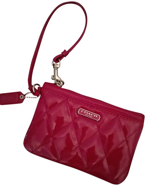 Coach Liquid Quilted Hot Pink Patent Leather Wristlet Coach Liquid Quilted Hot Pink Patent Leather Wristlet Image 1