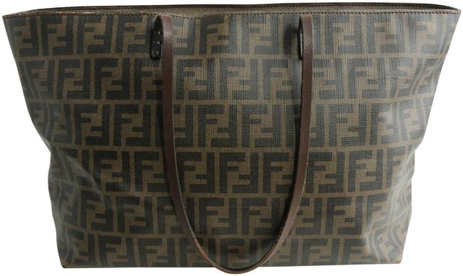 Item - Zucca Print Small Roll Brown/Black Coated Canvas Tote