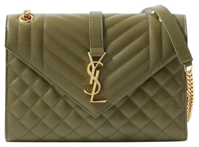 Item - Shoulder Envelope Medium Quilted Textured-leather Army Green Cross Body Bag