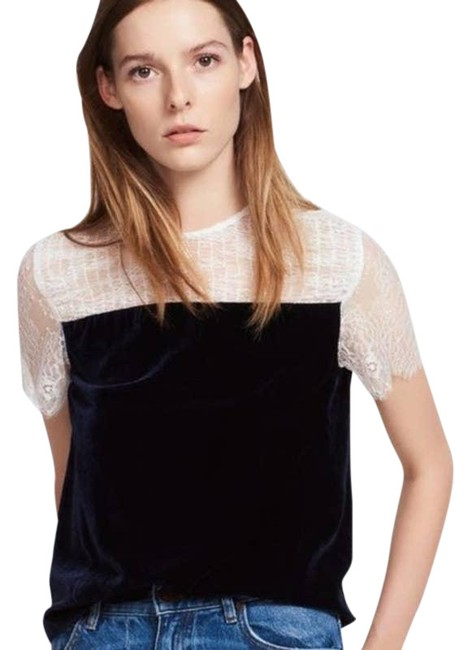 Item - Blue Alice Velvet Lace Contrast Midnight Small Blouse Size 4 (S)