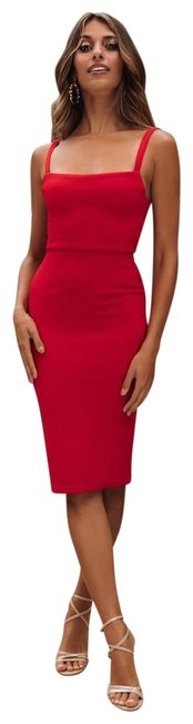 Item - Red Michigan Mid-length Cocktail Dress Size 4 (S)