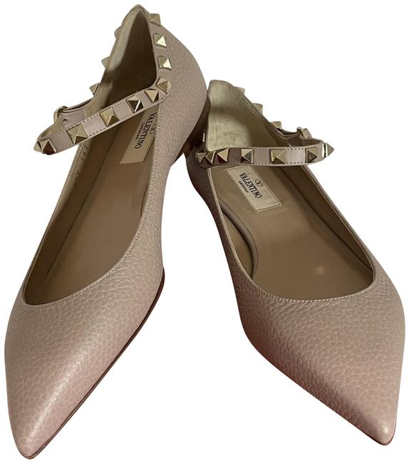 Item - Poudre Pink Rockstud Pebbled Leather Mary Jane Ballet Flats Size EU 37.5 (Approx. US 7.5) Regular (M, B)
