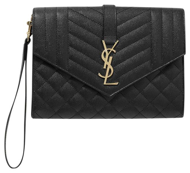Item - Envelope Quilted Textured-leather Pouch Black Cross Body Bag