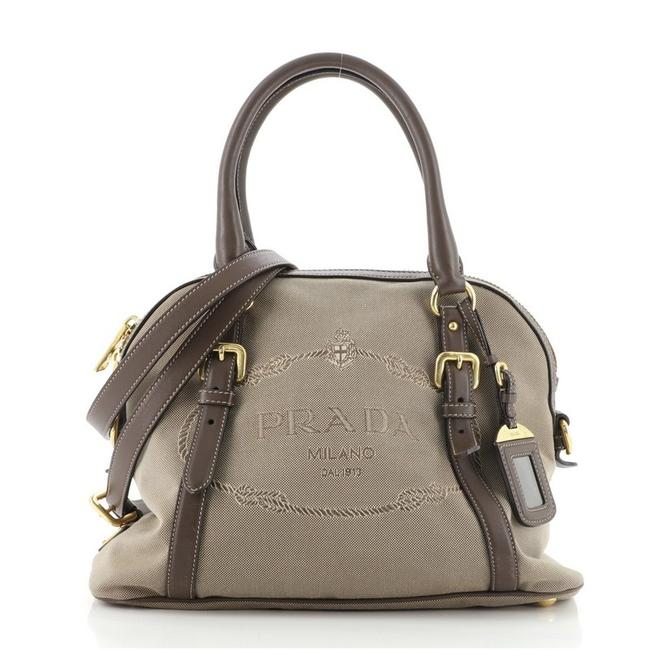 Item - Logo Convertible Dome with Leather Medium Brown Neutral Canvas Satchel