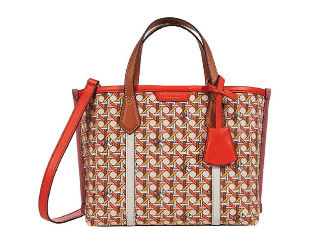 Item - Perry Small Triple Compartment Orange Leather Tote