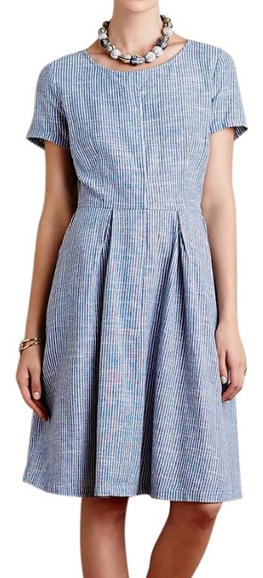 Item - Blue White Isabella Sinclair Hidden Blooms Striped Floral Shirtdress Mid-length Work/Office Dress Size 6 (S)