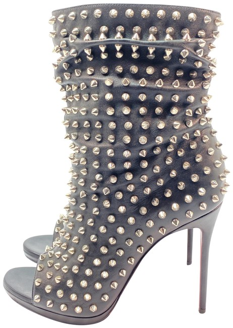 Item - Black Guerilla 120 Spikes Leather Open Toe Ankle Boots/Booties Size EU 39.5 (Approx. US 9.5) Regular (M, B)