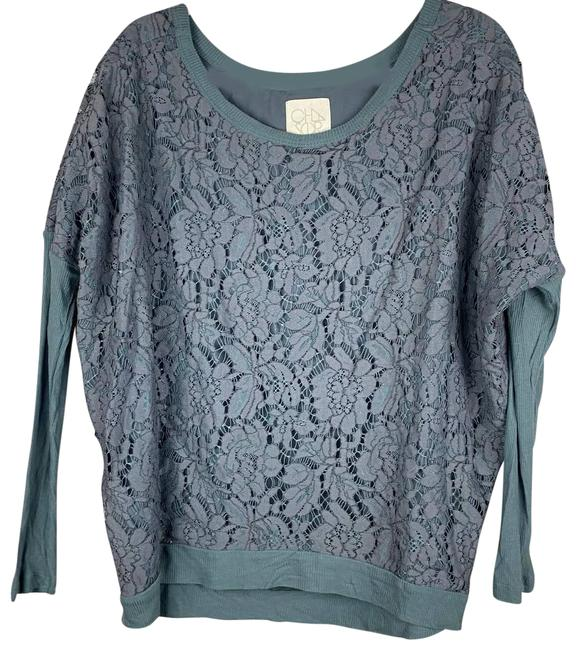 Item - Gray Lace Long Sleeve Med Blouse Size 10 (M)