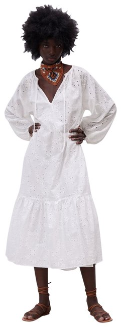 Item - White Embroidered Mid-length Casual Maxi Dress Size 6 (S)