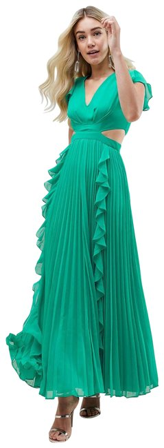 Item - Green Pleated Ruffle Maxi with Cut Out Long Formal Dress Size 8 (M)