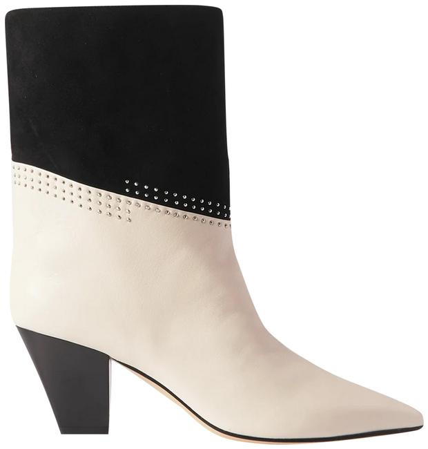 Item - Black White Bear 65 Two-tone Studded Suede Leather Ankle Boots/Booties Size EU 38 (Approx. US 8) Regular (M, B)