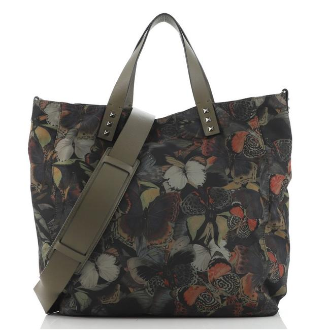 Item - Rockstud Open Convertible Butterfly Print Large Green Nylon Tote