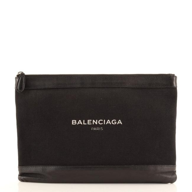 Item - Navy Zip Pouch Large Black Canvas and Leather Clutch