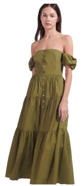 Item - Green Elio Tiered Casual Maxi Dress Size 6 (S)